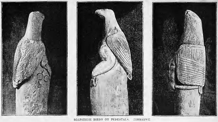 Zimbabwe's soapstone birds, photographed in 1892.
