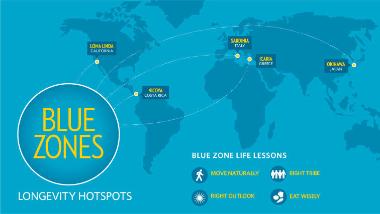 Blue Zones Map 9 lessons from the world's Blue Zones on living a long, healthy