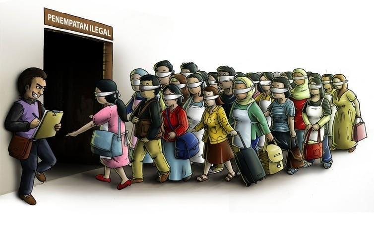 « Bureau d'occupation illégale » en bahasa (Indonésie). Difficultés d'accès au marché de l'emploi poussent certains migrants vers les filières informelles et alimentent le ressentiment d'une couche de la population.