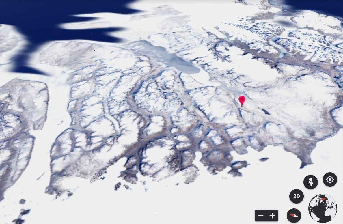image of ice sheets around Mylius-Erichsen Land, Greenland, in 1984
