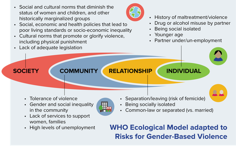 This chart explains the different factors that impact gender-based violence.