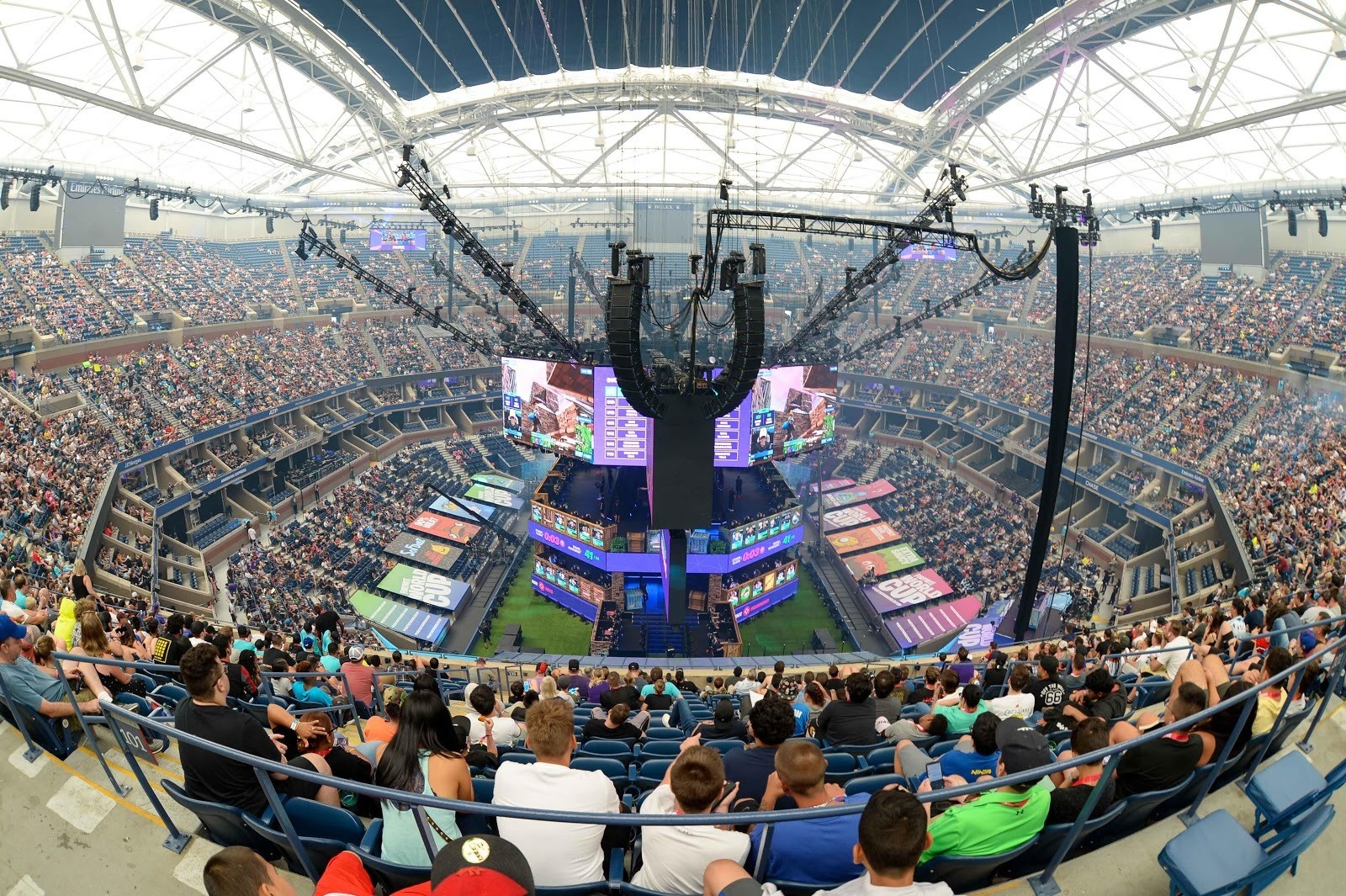 Jul 27, 2019; Flushing, NY, USA; A general view of Athur Ashe Stadium during the Fortnite World Cup Finals e-sports event at Arthur Ashe Stadium. Mandatory Credit: Dennis Schneidler-USA TODAY Sports - 13110563