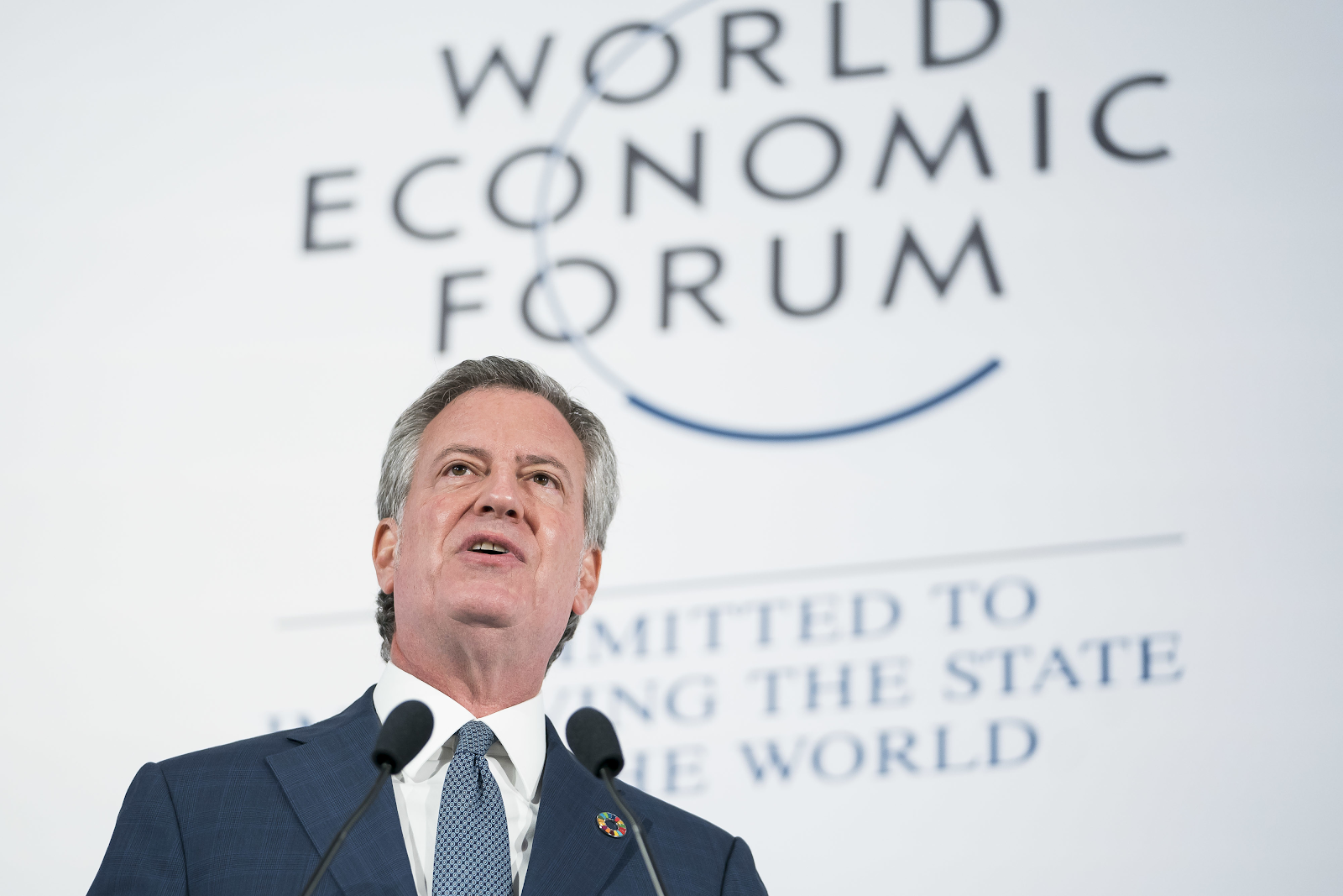 New York City Mayor Bill de Blasio speaking at the World Economic Forum's Sustainable Development Impact Summit.