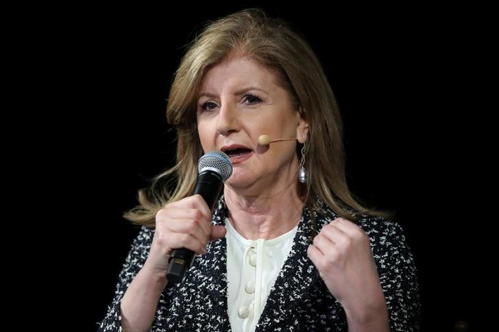 Arianna Huffington, founder and CEO of Thrive Global, speaks at the Wall Street Journal Digital conference in Laguna Beach, California, U.S. October 16, 2017. REUTERS/Mike Blake