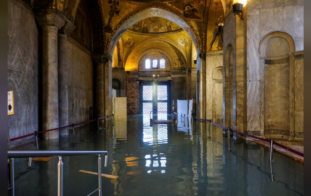 The flooded crypt of St Mark's Basilica is seen during an exceptionally high water levels in Venice, Italy November 13, 2019.