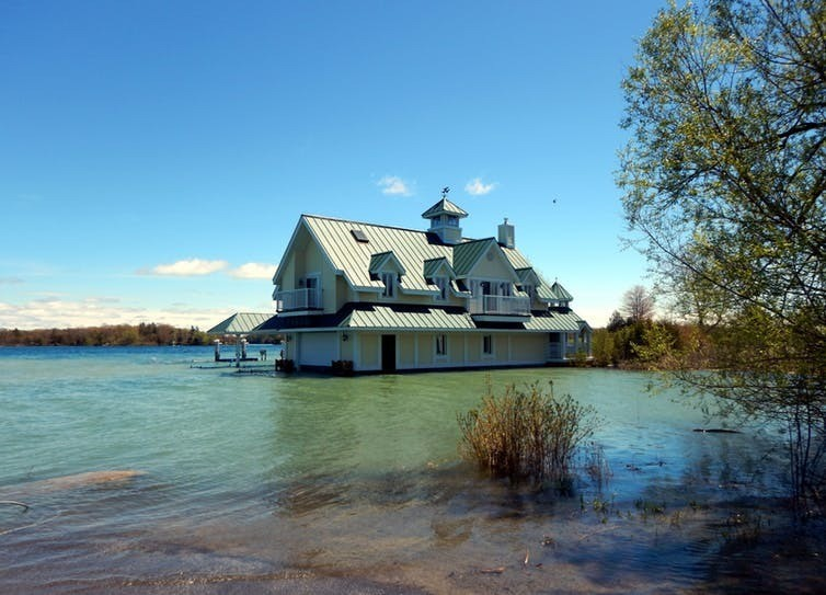 High water levels inundate a waterfront home on the St. Lawrence River in May 2017.