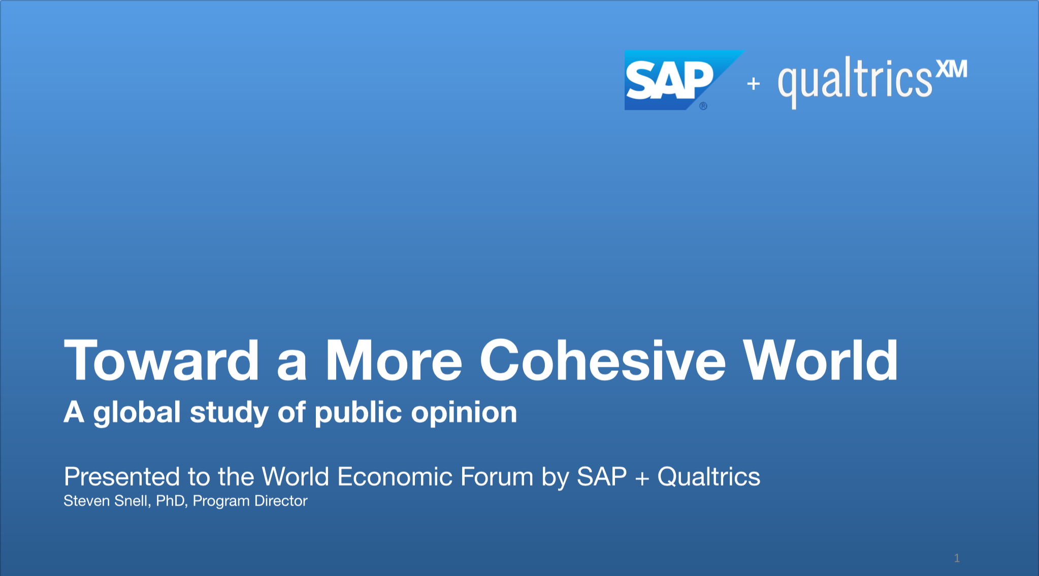 A global study of public opinion on Cohesive World