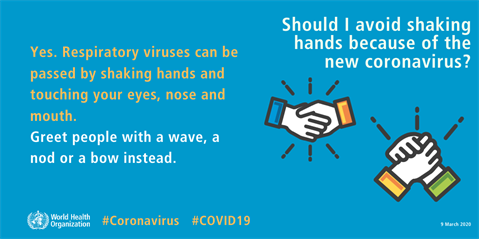 COVID-19 coronavirus avoid handshaking