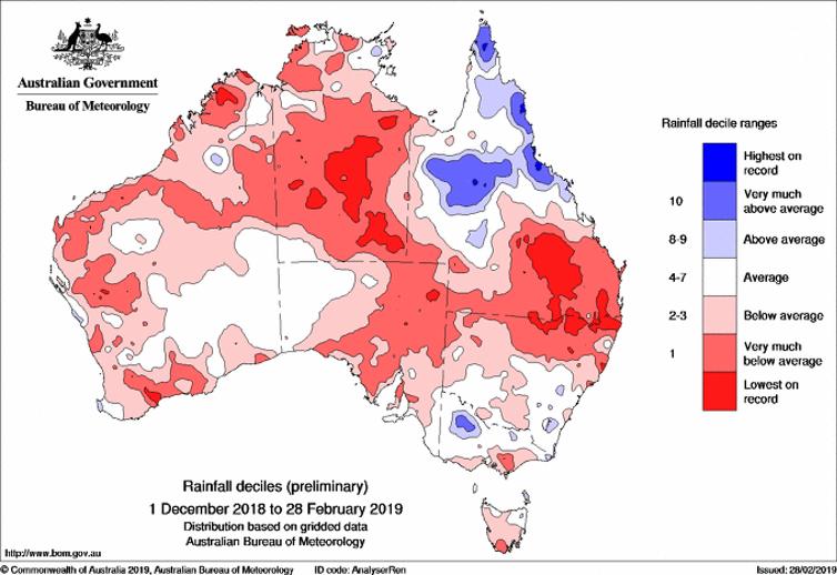 Preliminary summer 2018–19 rainfall deciles.