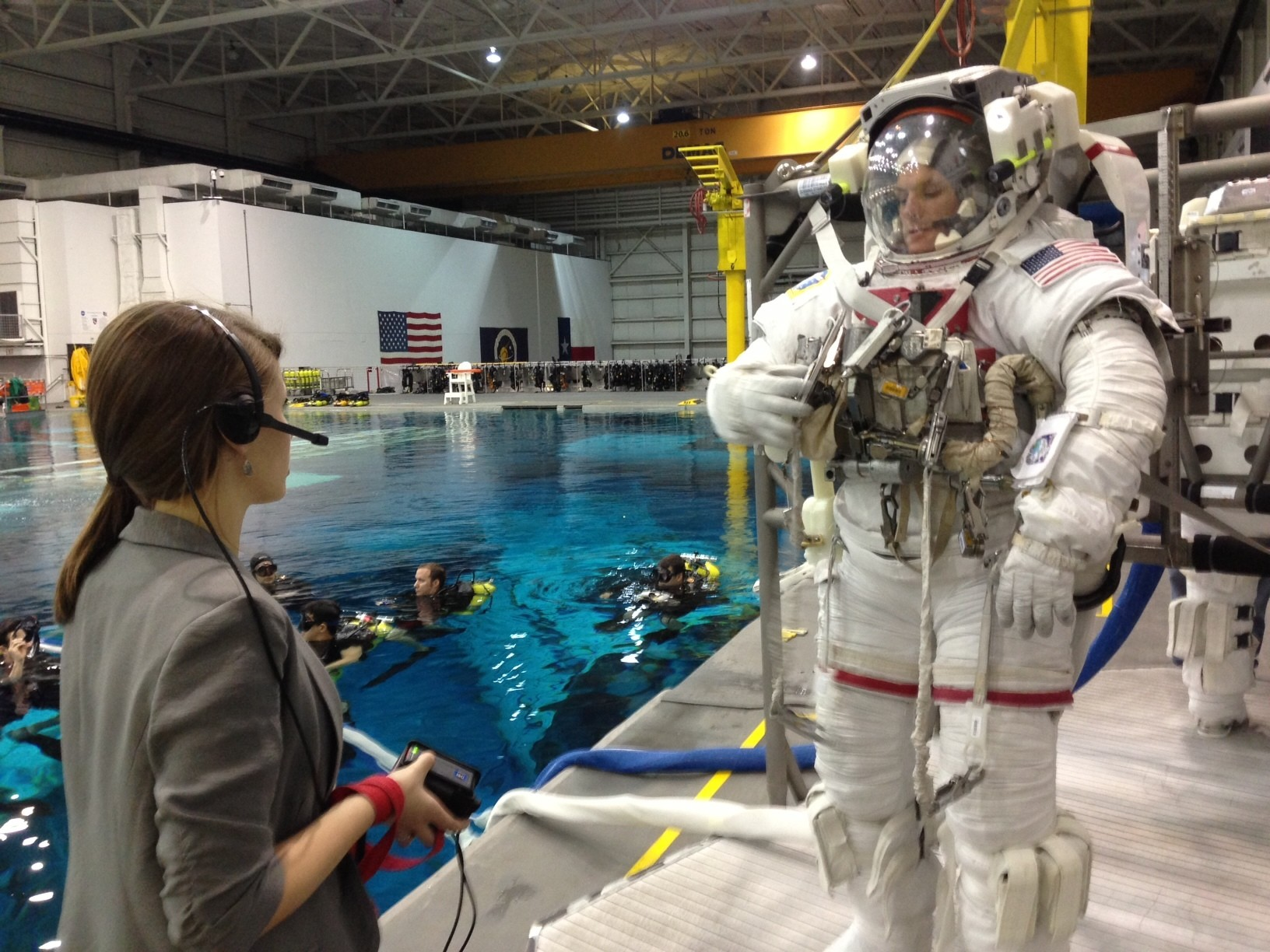 The author training astronauts at NASA's neutral buoyancy pool, which simulates the microgravity of space