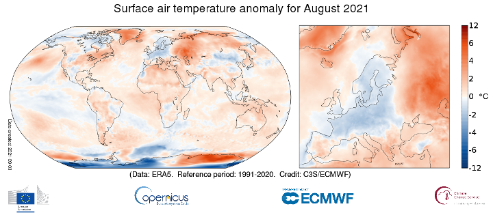 Surface air temperature anomaly for August 2021 relative to the August average for the period 1991-2020. Data source: ERA5