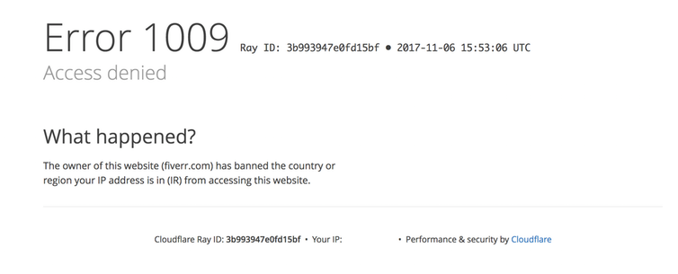 Cloudflare's notification that the owner of a website has banned the country or region a user's IP address is in.