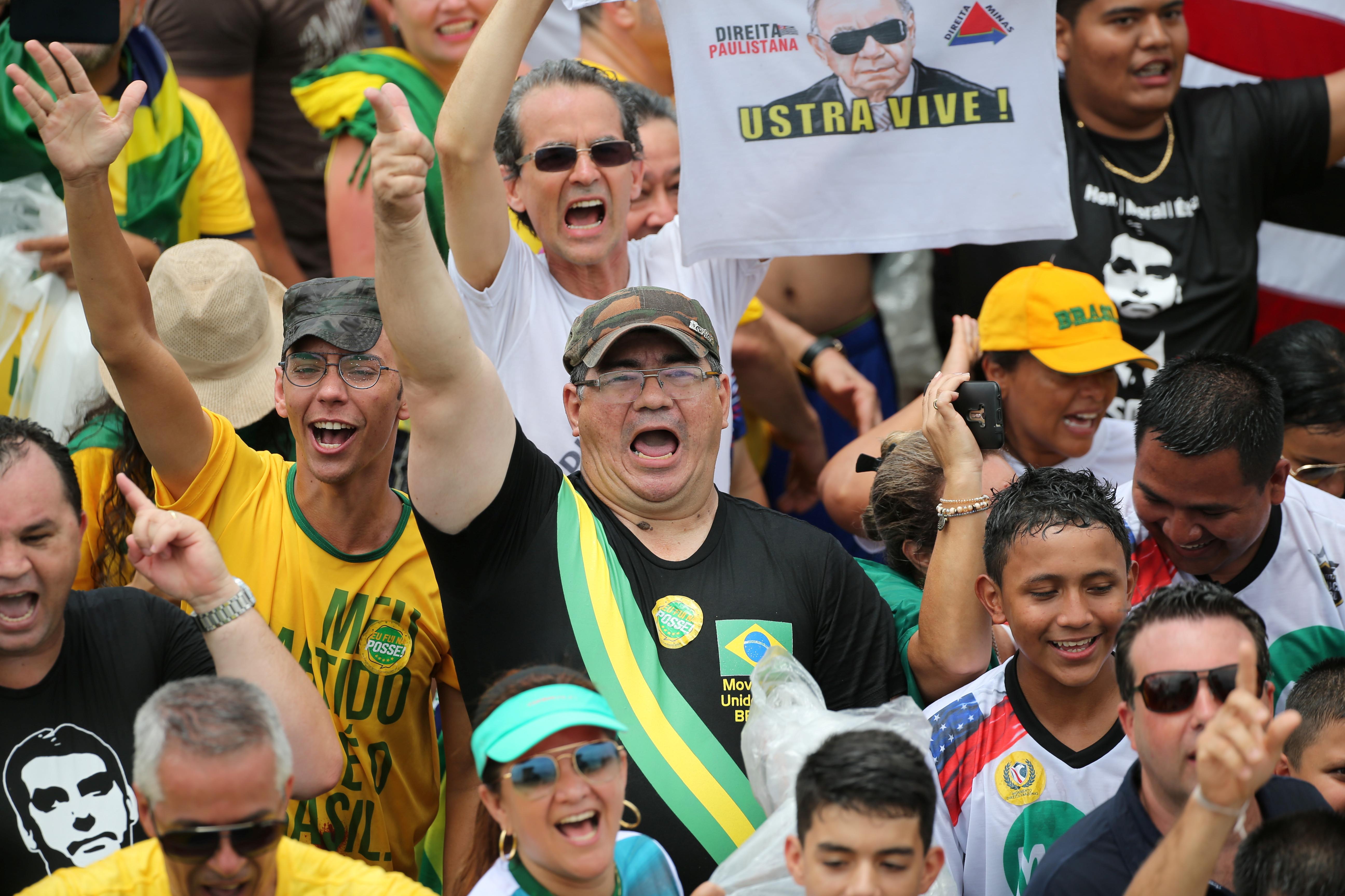 Supporters of Brazil's new populist president, Jair Bolsonaro.