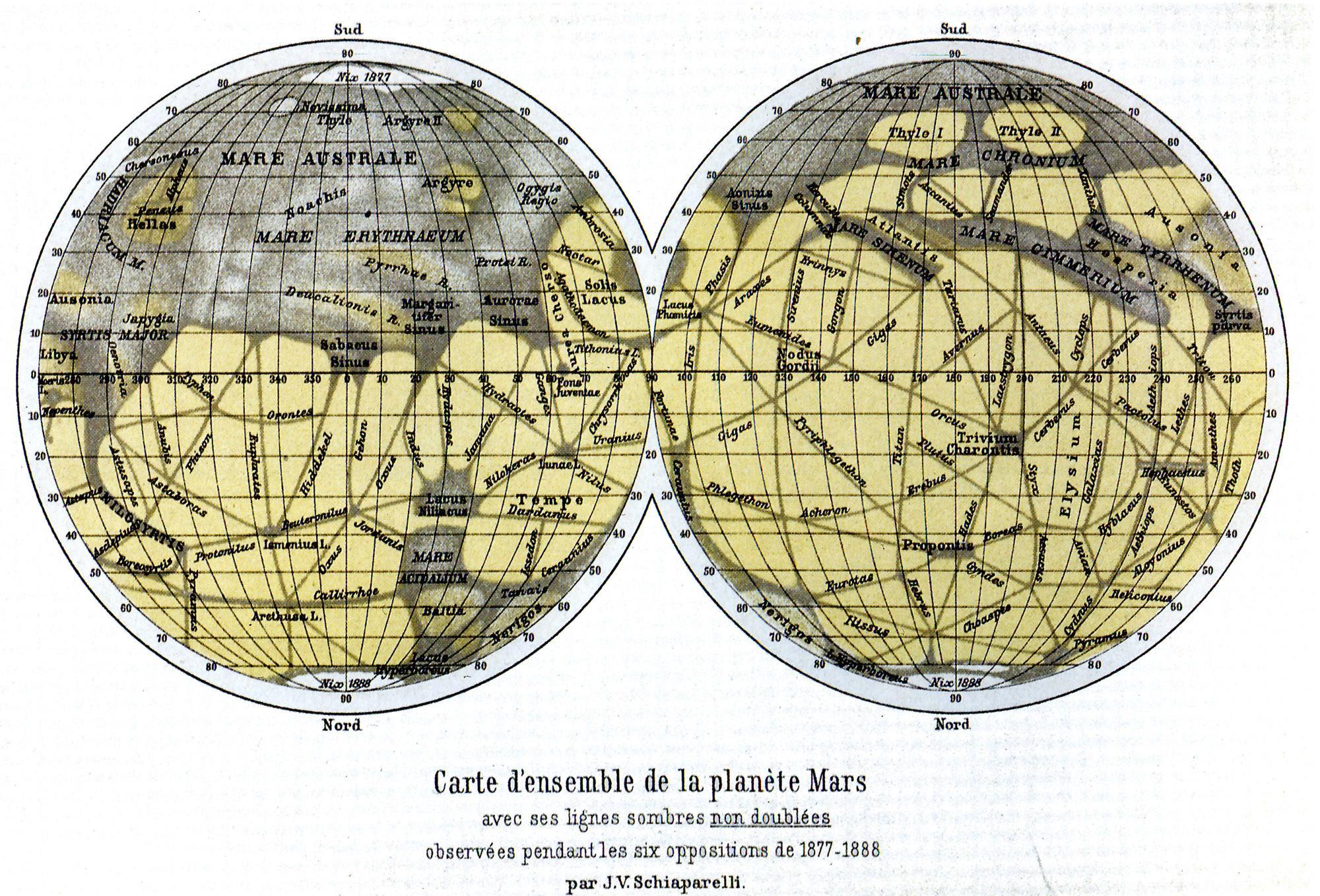 Atlas of Mars by Giovanni Schiaparelli, made in 1888.