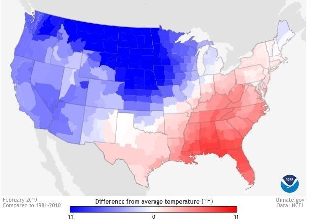 February 2019 temperatures in the USA.