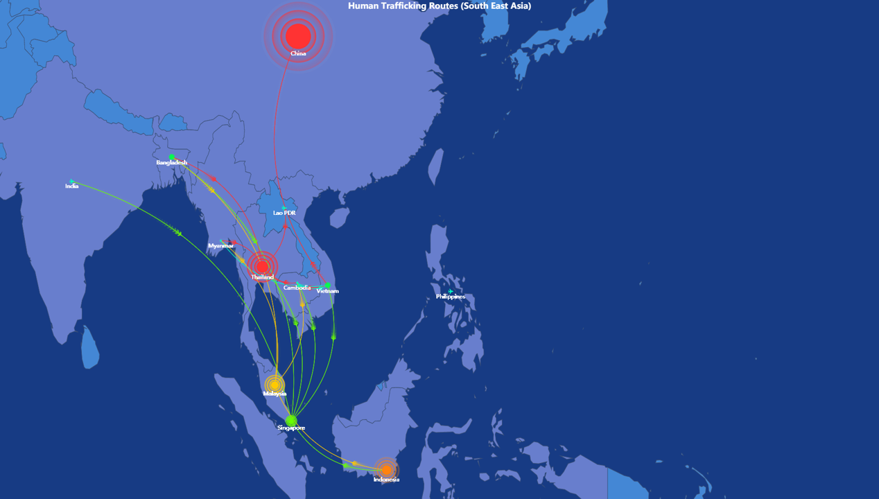A route map showing human trafficking hotspots in South-East Asia.