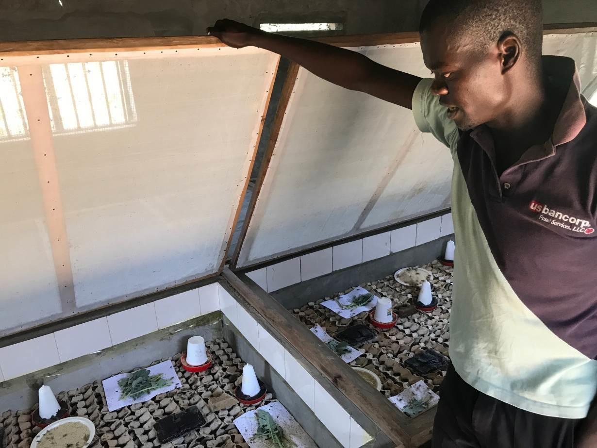 한 농부가 2018 년 2 월 13 일 케냐 키 수무에있는 다양한 신선, 냉동 및 건조 귀뚜라미 제품을 판매하는 농장 상점에서 판매 할 냉동 건조 귀뚜라미 한 봉지를 들고 있습니다.
