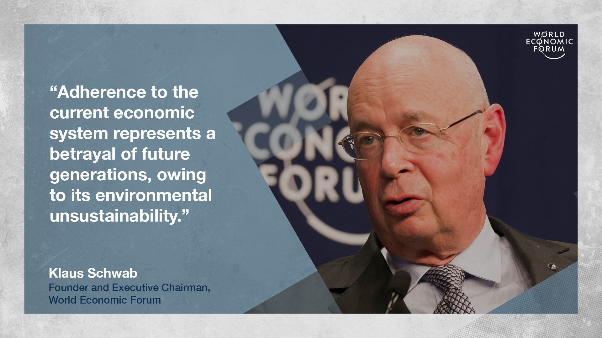 Klaus Schwab on the need for a sustainable cohesive world