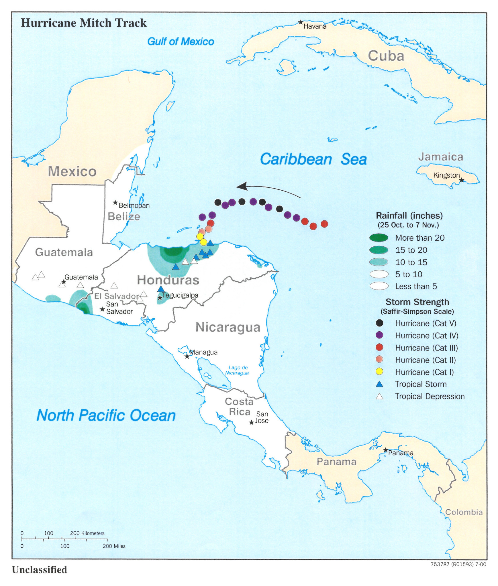 Path of Hurricane Mitch