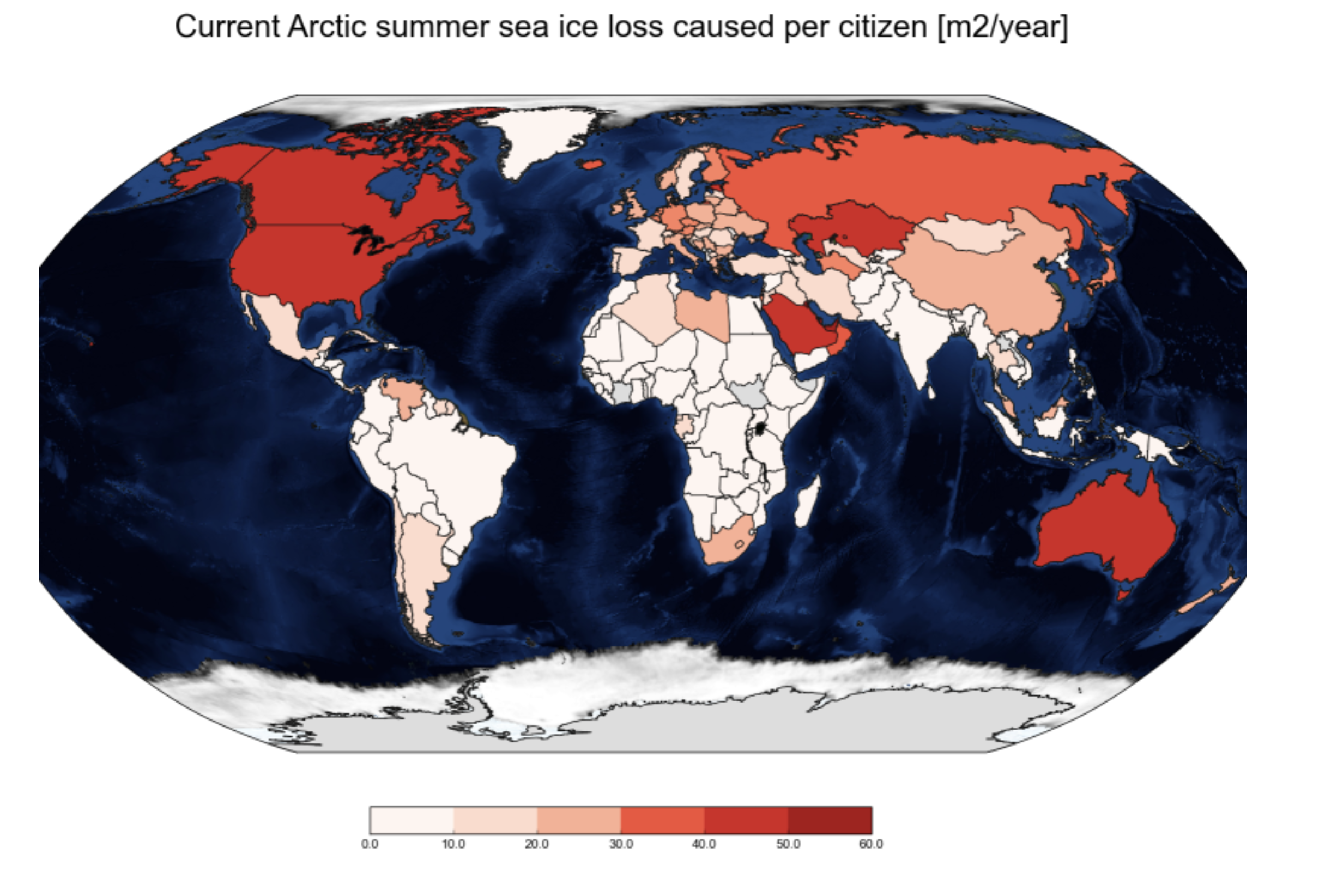 Which countries' populations are responsible for the most summer sea ice loss?
