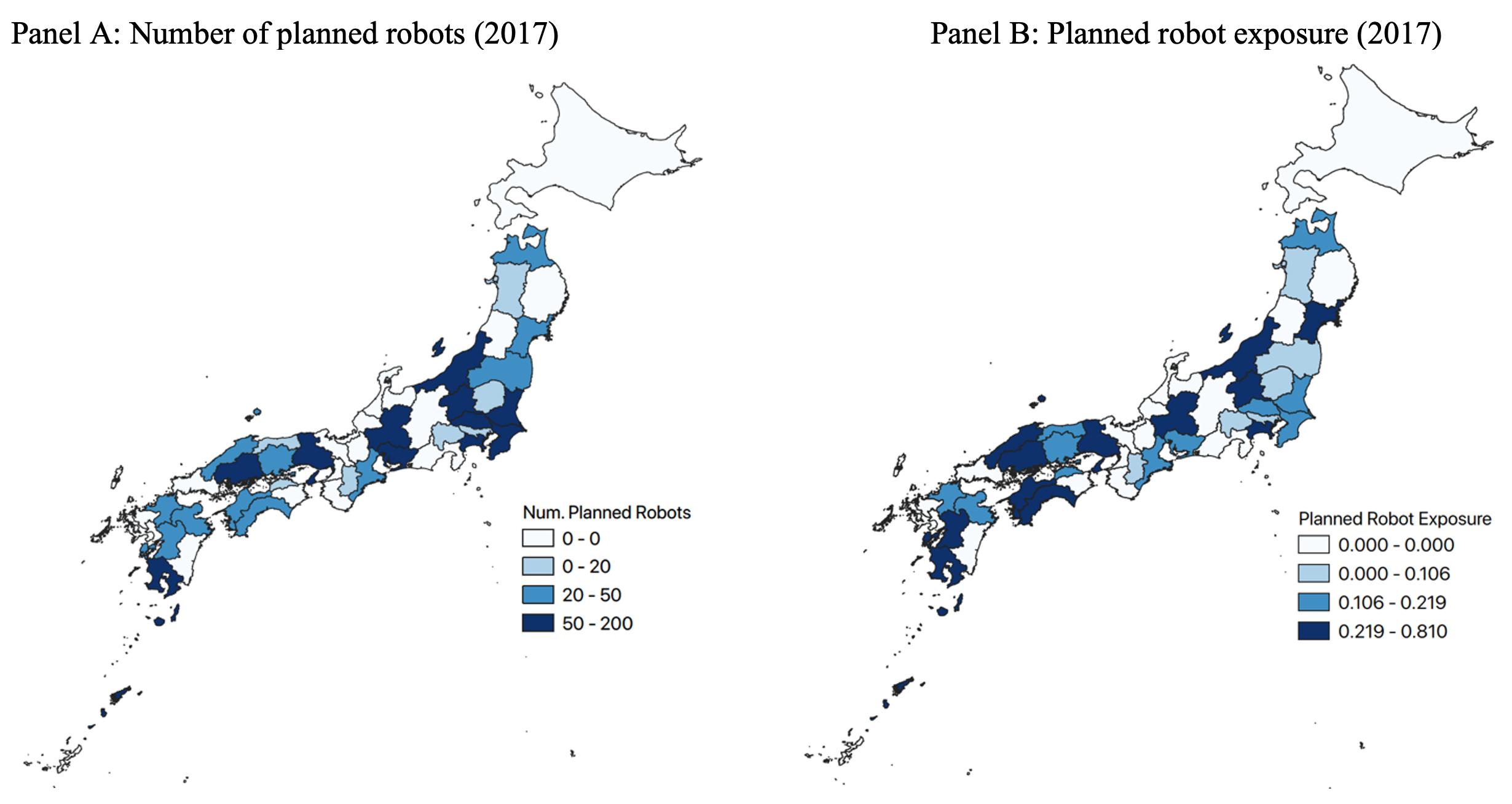 deux cartes du Japon, la première montrant le nombre de robots prévus dans différentes régions du pays en 2017 et la seconde montrant l'exposition de robots prévue en 2017