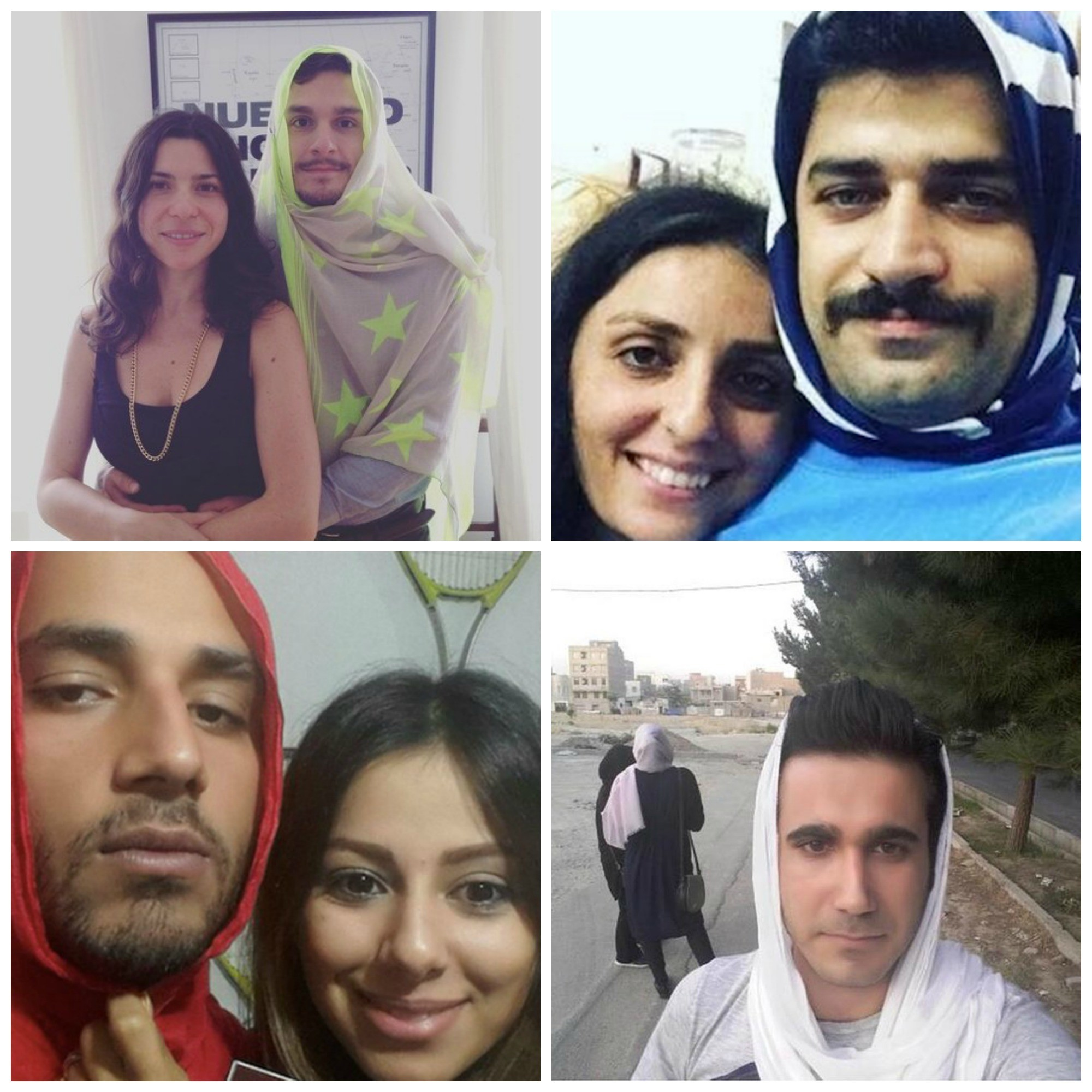 Men in Iran are sharing pictures of themselves wearing hijabs