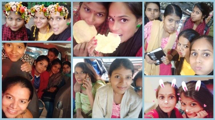 Collage of fun selfies.