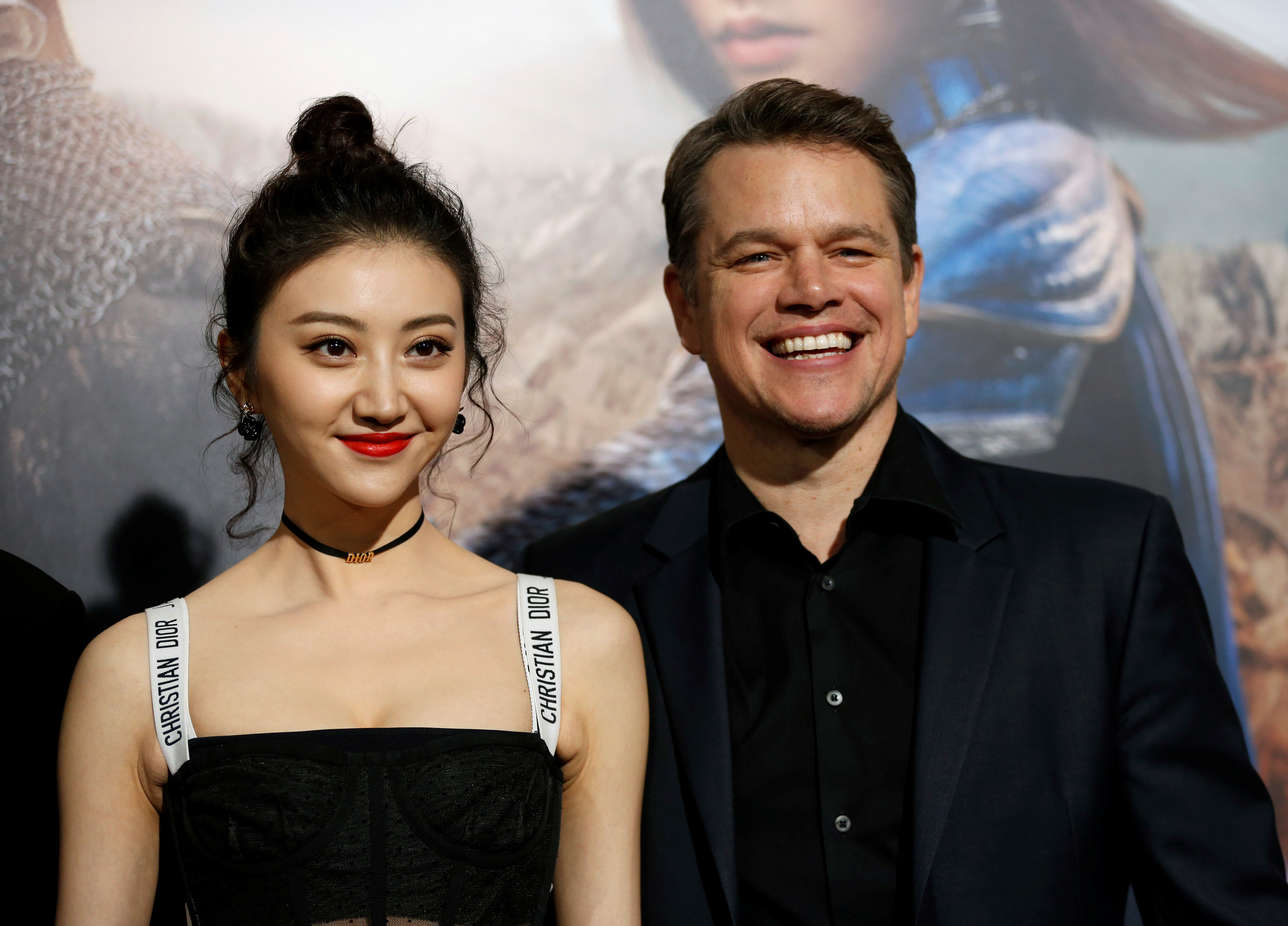 Matt Damon with Jing Tian at the premiere of The Great Wall in 2016.