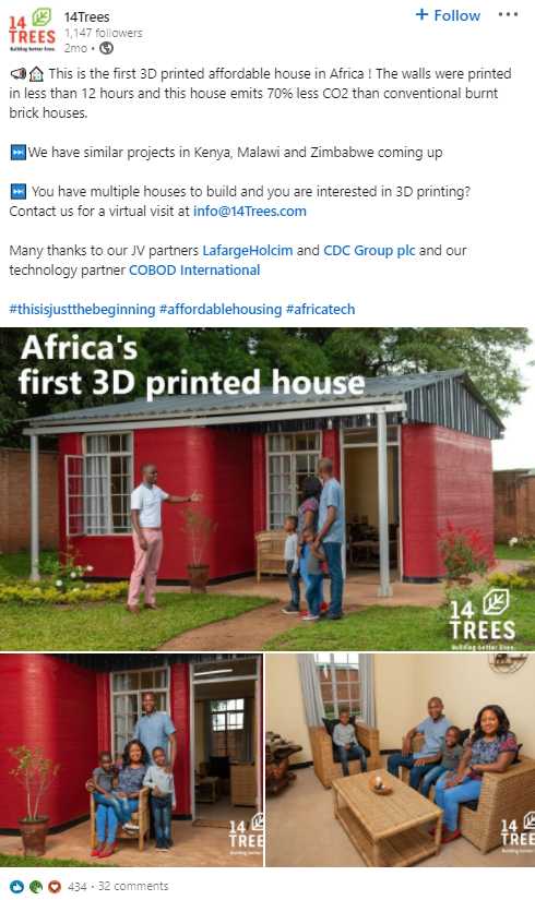 The first 3D printed affordable house in Africa, with the walls printed in less than 12 hours.