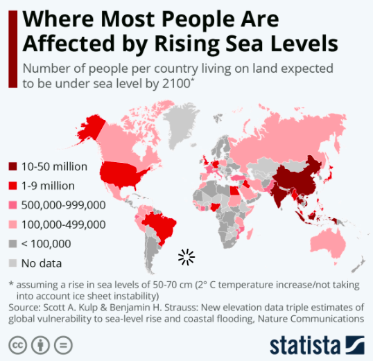a map sowing where people will be most affected by rising sea levels