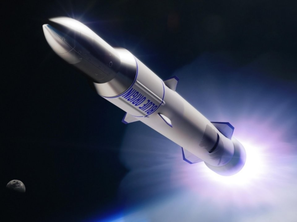 An illustration of Blue Origin's reusable New Glenn rocket launching toward space.