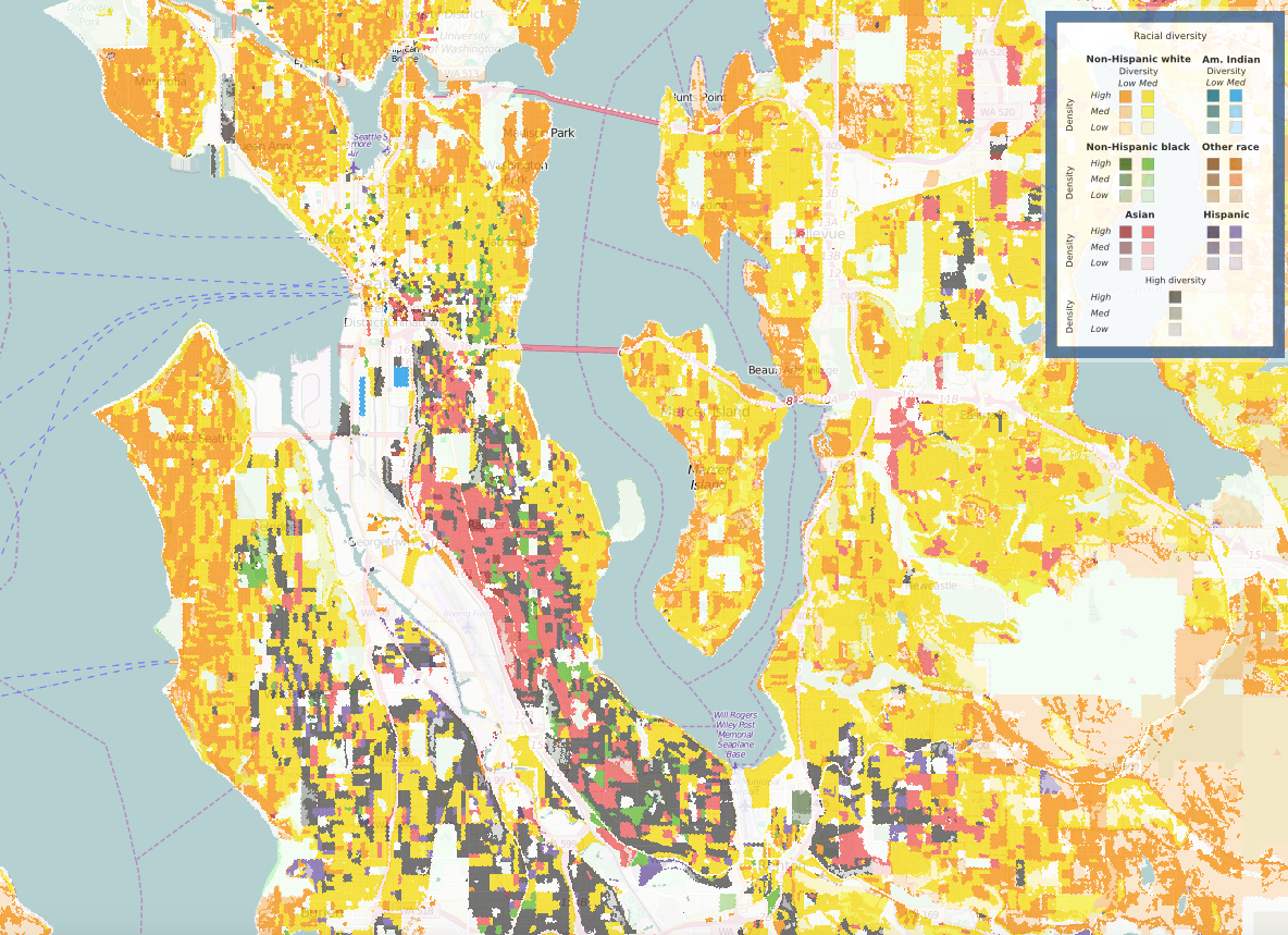 A diversity map of Seattle in 2010.