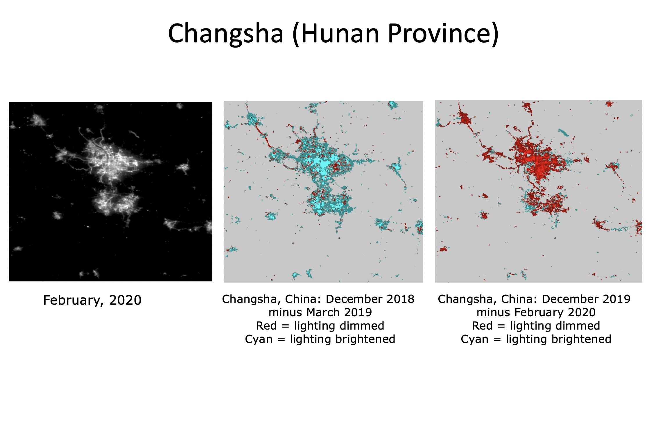 Figure 2. Light levels in Changsha compared with this time last year