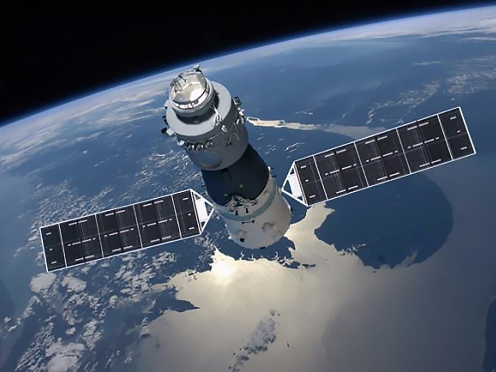 An illustration of Tiangong-1, China's first space station, orbiting Earth.