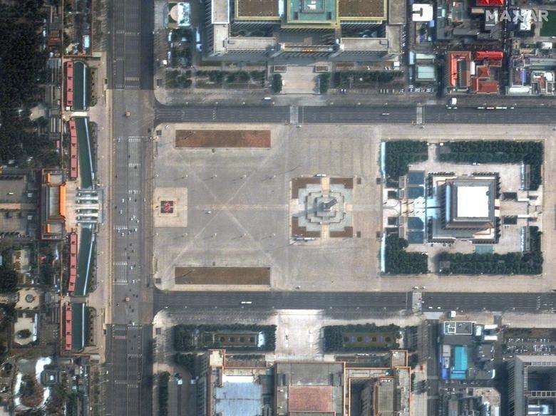 SETELAH: Lapangan Tiananmen, Beijing, Tiongkok, 11 Februari 2020. Citra satelit 2020 Maxar Technologies / Handout via REUTERS