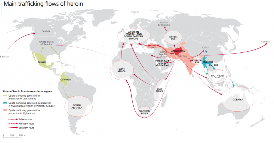 Main trafficking flows of heroin