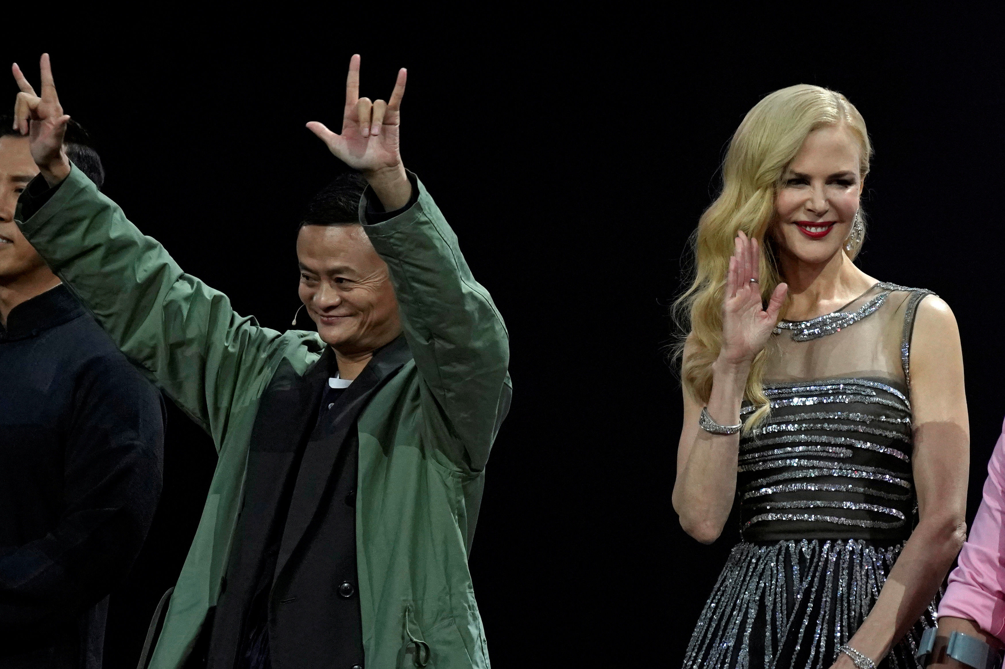 Alibaba chair Jack Ma with Nicole Kidman at a Double 11 event.