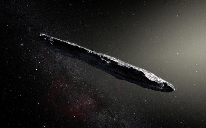 This artist's impression shows the first-known interstellar object to visit the solar system, 'Oumuamua, which was discovered on October 19, 2017, by the Pan-STARRS 1 telescope in Hawaii, U.S., with subsequent observations from ESO's Very Large Telescope in Chile and other observatories around the world. European Southern Obervatory/M. Kornmesser/Handout via REUTERS ATTENTION EDITORS - THIS IMAGE HAS BEEN SUPPLIED BY A THIRD PARTY. - RC1D1231FE70