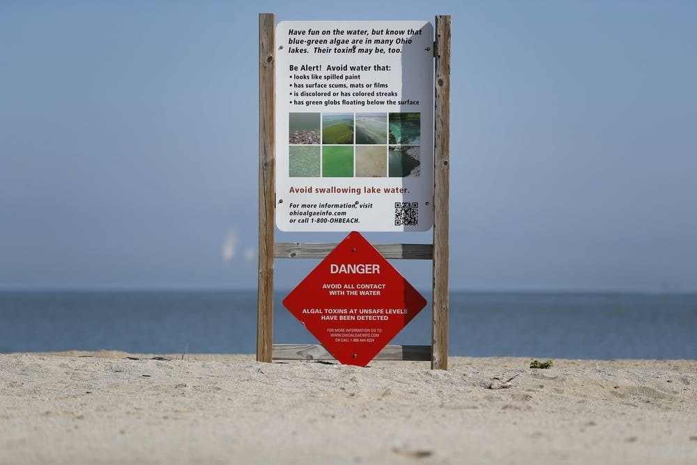 Algal toxin warning sign on an empty Maumee Bay State Park public beach on Lake Erie in Oregon, Ohio,