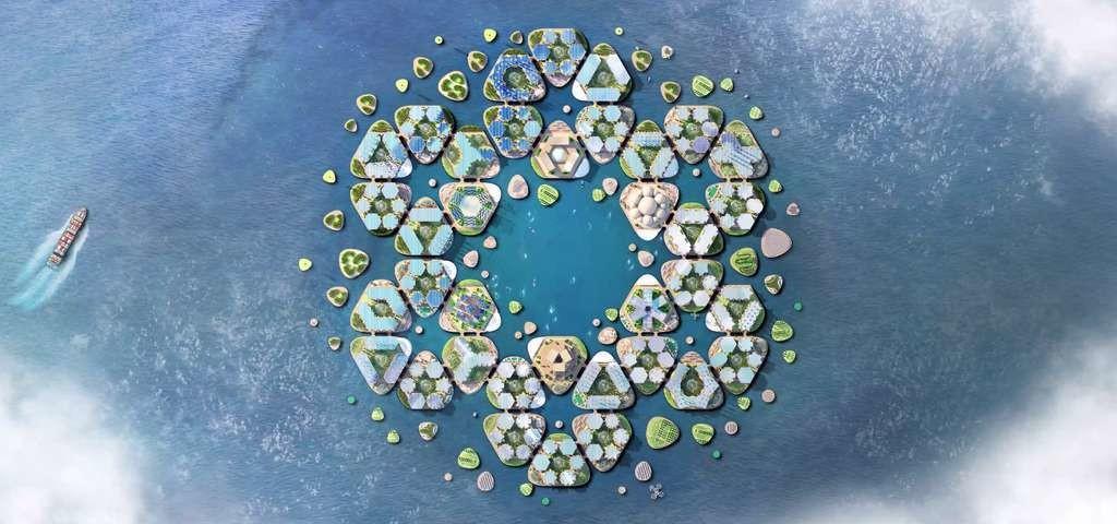 Le projet Oceanix city s'articule autour de modules hexagonaux de 15.000 mètres carrés.
