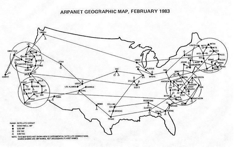 A map showing connectivity in the US in 1983