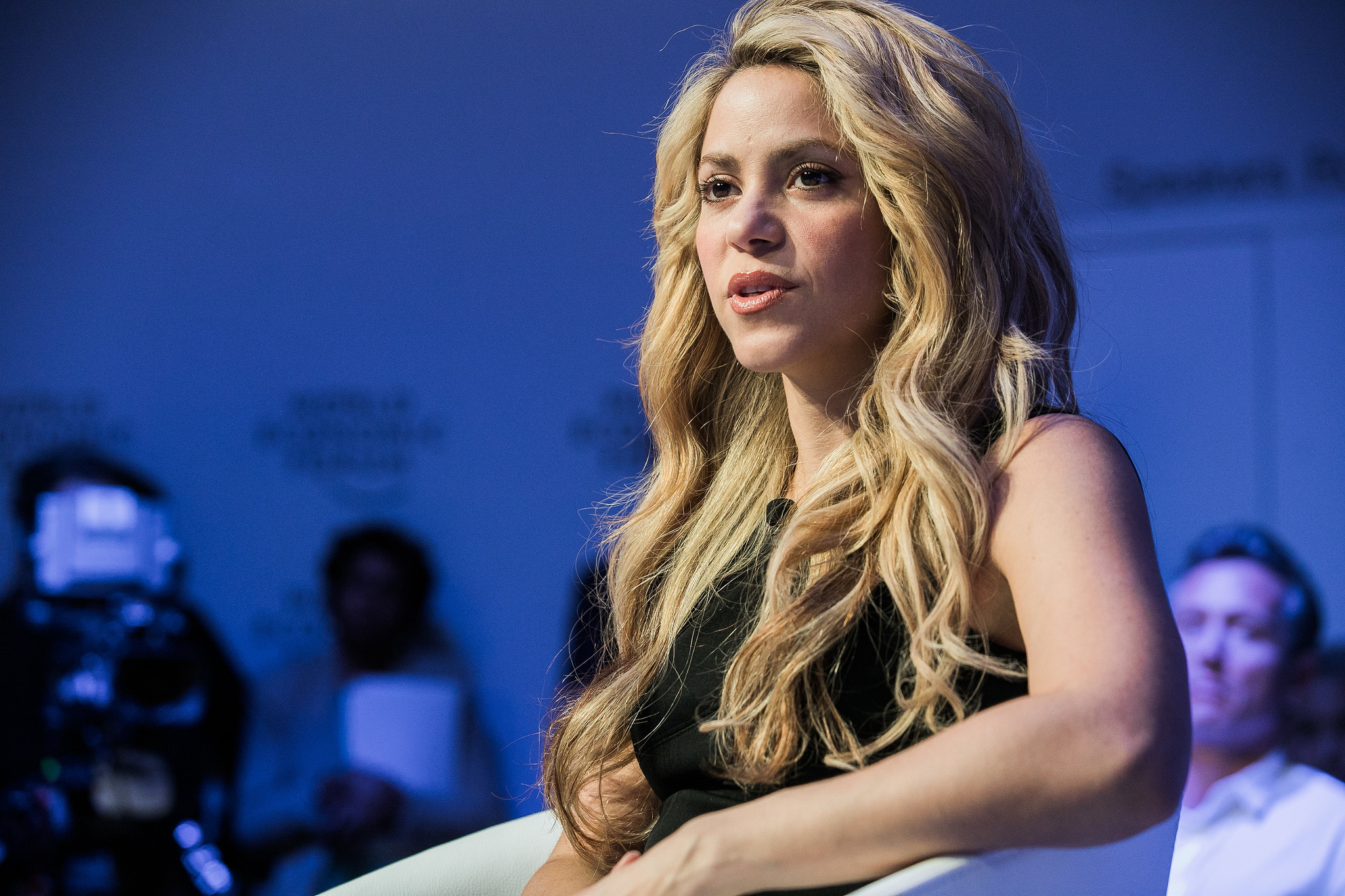 Shakira, UNICEF Global Ambassador, speaks during a session in Davos