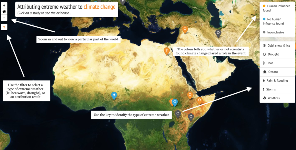 This map shows extreme weather events in places influenced by human this map shows the human influence on extreme weather gumiabroncs Image collections