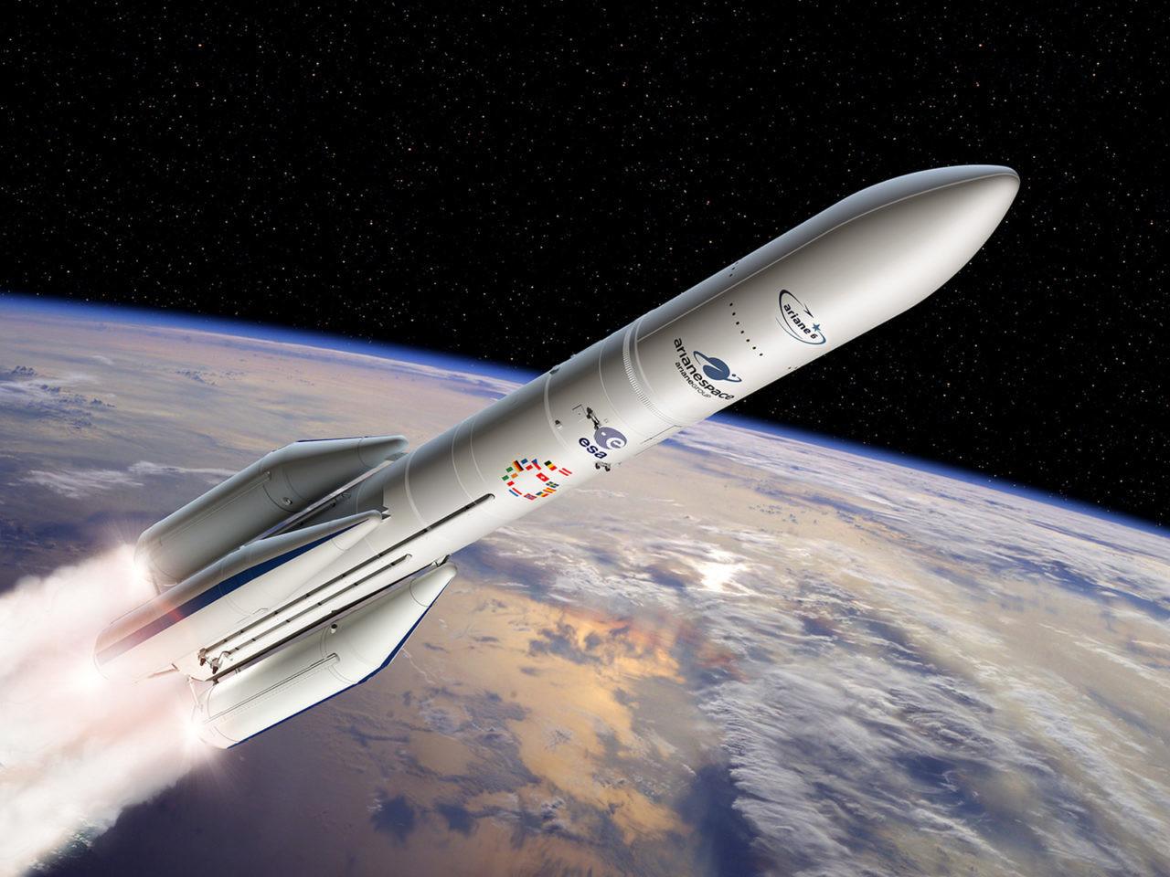 Rendu d'artiste de la fusée Ariane 6.