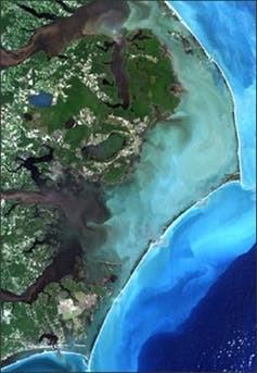 Landsat image of North Carolina's Outer Banks enclosing Pamlico Sound.