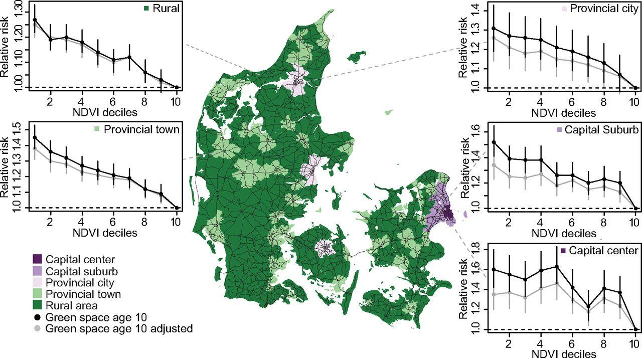 研究者らはそれぞれの参加者について、幼少時の住宅周辺の植物密度を算出