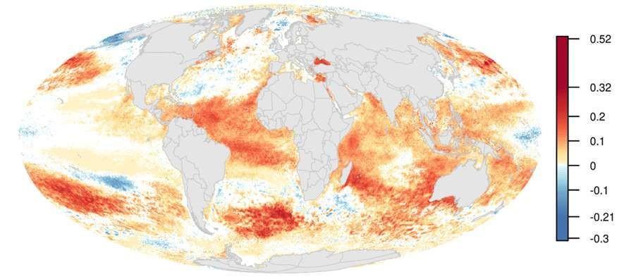 Les variations annuelles de l'impact global de l'Homme sur les océans entre 2003 et 2013. Parmi les aspects les plus marquants : une augmentation spectaculaire des températures en un laps de temps relativement court.