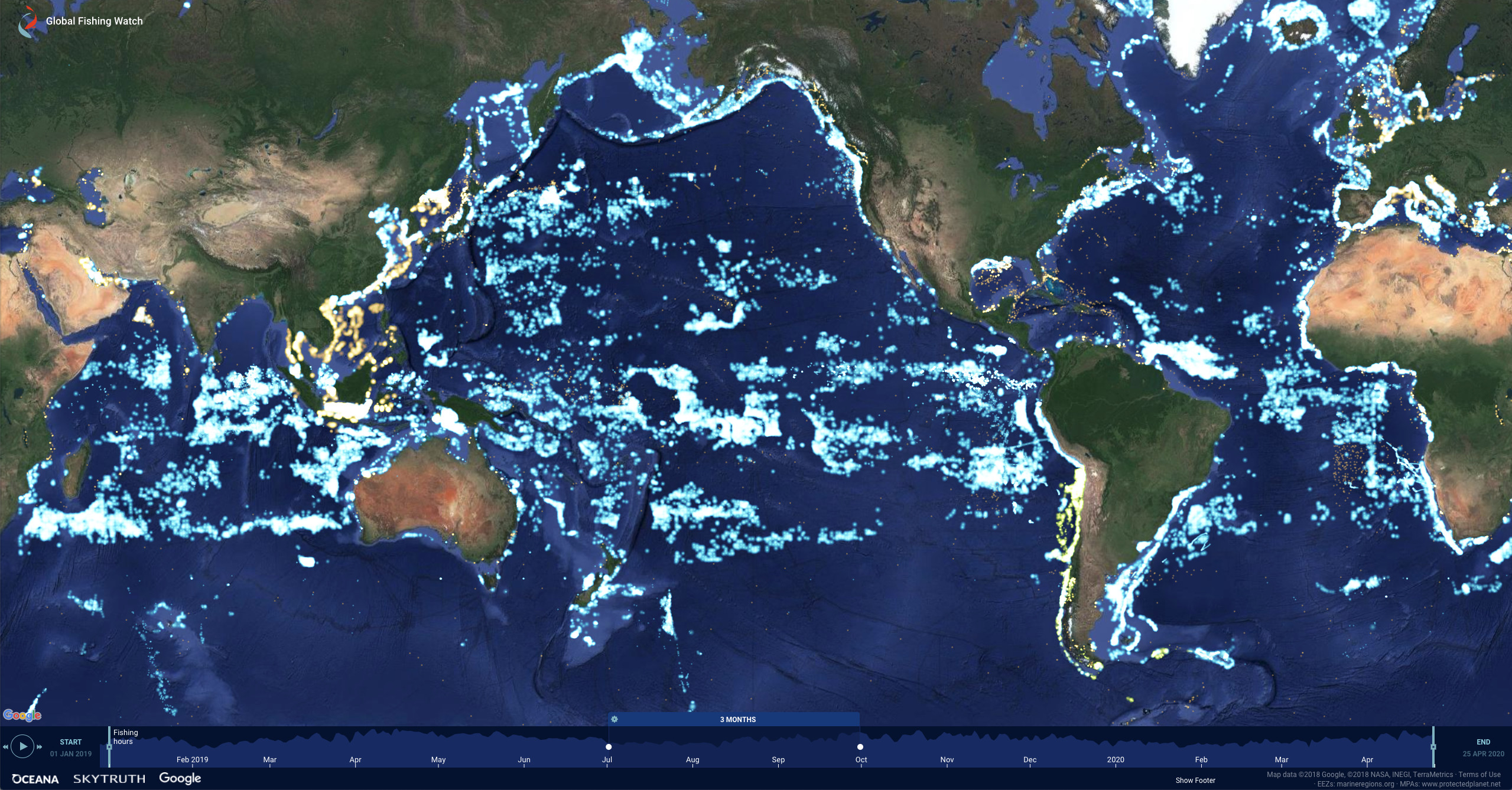 Global Fishing Watch's map tracks the movements of about 65,000 large, industrial fishing vessels all over the world in near real time