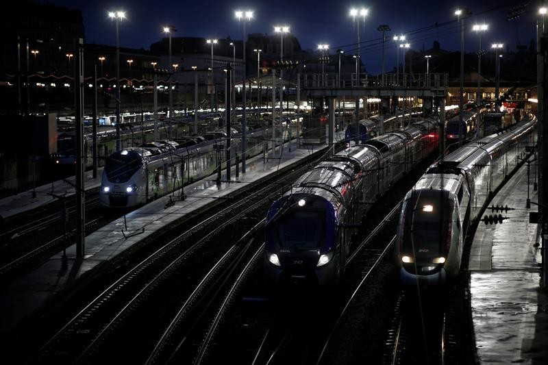 TGV high-speed trains stand by the empty platforms at the Gare de l'Est railway station during the 36th day of strike by all workers' unions of French SNCF and the Paris transport network (RATP) against pension reform plans, in Paris, France January 9, 2020. REUTERS/Benoit Tessier - RC28CE99TMF9