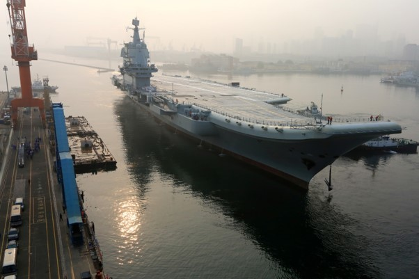 China's first domestically developed aircraft carrier departs Dalian